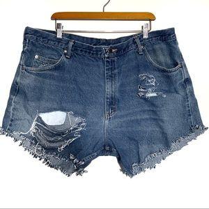 Wrangler custom made distressed jean shorts